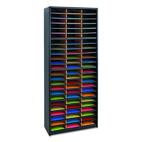 Safco Products Value Sorter Literature Organizer, 72 Compartment 7131BL, Black, Commercial-grade Steel Shell, Fiberboard Shelves, Value-priced