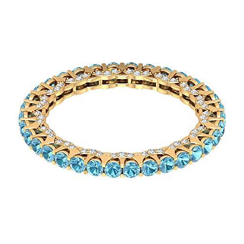 Rosec Jewels - 18 Karat Gelbgold Runder Brilliantschliff Rund Leicht Getöntes Weiß/Top Crystal (I) Diamant Aquamarin