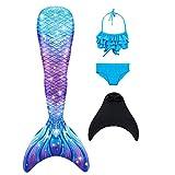 DNFUN Traje de baño de Cola de Sirena para niñas con Princesa de Sirena Traje de baño de Cosplay para Nadar con Bikini y Monofin, Juego de 4,G5+WJF46,130