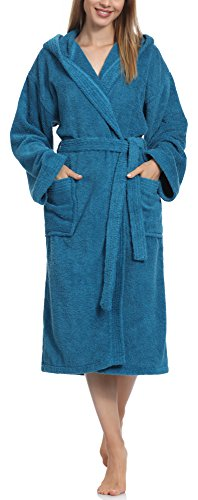 Ladeheid Damen Frottee Bademantel aus 100% Baumwolle LA40-102 (Jeans (D03) (Gramatur 450), L)