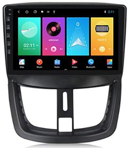 WYFWYT para Peugeot 207 2006-2015 Sat Nav Doble DIN Car Stereo Radio Navegación GPS 9 Pulgadas Unidad Principal Reproductor Multimedia Receptor de Video,WiFi:1+16g