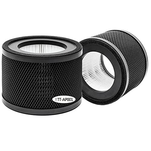 Rioche TT-AP001 Premium H13 True HEPA Replacement Filter, Compatible with TaoTronics TT-AP001 Air Purifier, 3-in-1 Premium H13 True HEPA Filter, 2-Pack