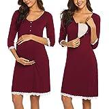 Ekouaer Women's 3/4 Sleeve Maternity Nightgown Nursing Nightdress for Breastfeeding delivery Nightshirt(Wine Red L)