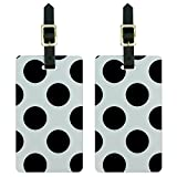 Graphics & More Mega Polka Dots Black Luggage Tags Suitcase Carry-on Id, White