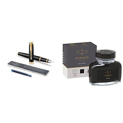 Parker - Pluma estilográfica con adorno dorado, plumín mediano y recambio de tinta azul, lacada en negro + Tintero de tinta líquida Quink para plumas estilográficas, 57ml, en caja, color negro