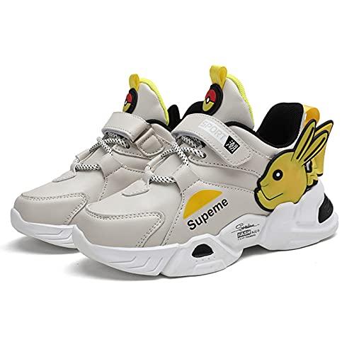 HAOYUXIN Zapatillas de Deporte Pikachu para niños Zapatillas Deportivas para Correr de Moda con Fondo Suave y Ligero para niños,White-32EU