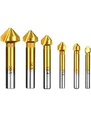 Qibaok 6 Pcs Avellanador 90°HSS Juego de 6 Brocas Avellanadoras para Metal Madera Aluminio, Ø 6,3mm ~ 20,5mm, Cubiertas de Titanio