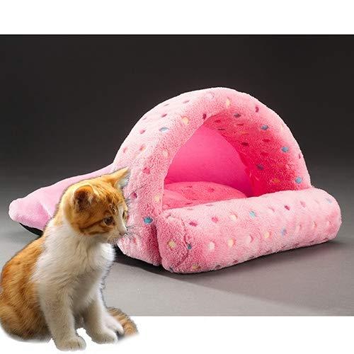 Tuzi Qiuge Cat & Hundebettkissenhaus, Haustier liefert abnehmbare und waschbare niedliche Hausschuhe Form warm und sicher (Color : Pink)