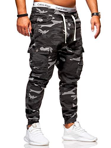 behype. Herren Camouflage Cargo Jeans-Hose Jogg 80-3188 (32, Camouflage Schwarz)