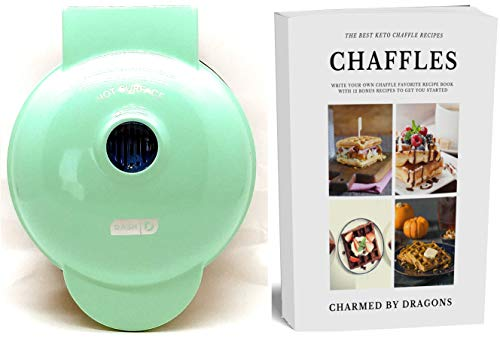 "Dash MINI Waffle Iron 4"" With The Best Keto Chaffle Recipe Book and Journal by Charmed By Dragons (4 Inch MINI AQUA)"