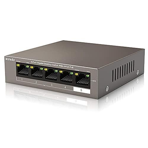 Tenda Poe Switch Gigabit 5-Port 10/100/1000 Mbps, Sdoppiatore Ethernet,Fino a 30W per Ogni Porta Poe e 58W per Tutte 4 Porte Poe, Nessuna Configurazione Necessaria (TEG1105P-4-63W), Cassa in Metallo