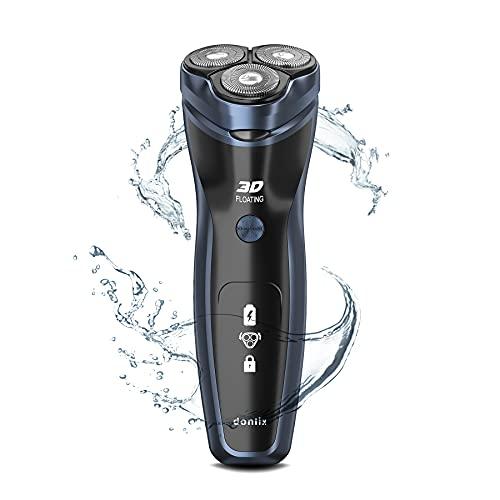 donlix Afeitadora Eléctrica Recargable 100% Impermeable Hombre Rotativa Con Cortapatillas Desplegable Para Bigote Y Patillas Mujeres Uso en seco y Húmedo Azul