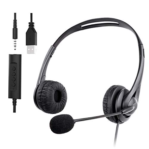 Muljexno Dotato di Auricolare Microfono USB con riduzione del Rumore Jack da 3,5 mm, con Funzione di riduzione del Rumore del Microfono, Auricolare Skype, Adatto per PC/Laptop/Telefono Android