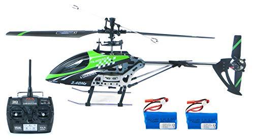 efaso Helikopter Feilun FX078 + Zusatzakku, 2,4 GHz 4-Kanal Single-Rotor RC Hubschrauber Heli mit Fernsteuerung in Aluminiumbauweise RTF