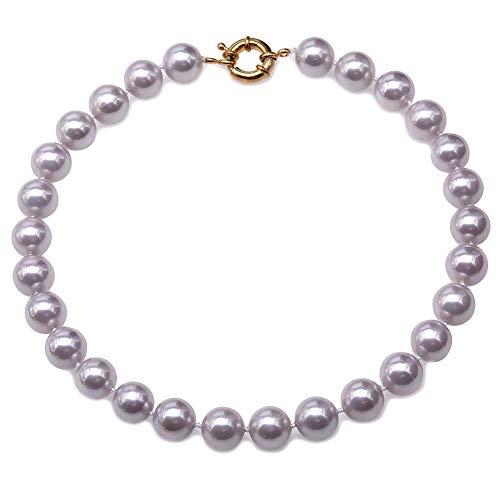 JYX Perlenkette Echte 12 mm Runde Lavendel Südsee Muschel Perlen Halskette für Damen 45 cm