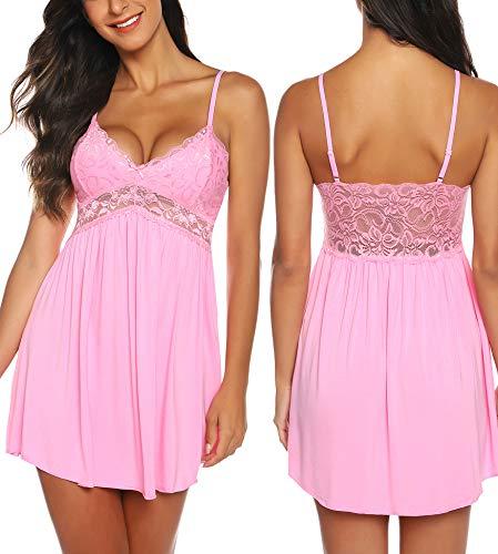 RSLOVE Plus Size White Lingerie for Women Women Lace Lingerie Sleepwear Chemises V-Neck Full Slip Babydoll Nightgown Dress Pink XXL