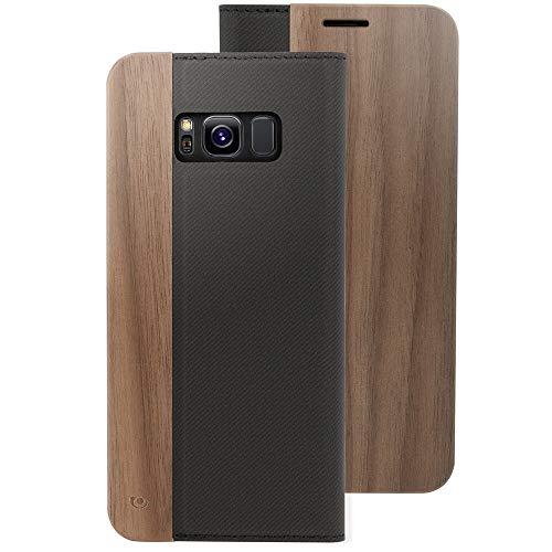 NALIA Echt-Holz Handyhülle kompatibel mit Samsung Galaxy S8 Plus, Handmade Natur-Holz Handy-Tasche Klapphülle Flip-Case, Dünnes Slim Kunst-Leder Hardcase, Wood Cover Bumper, Farbe:Walnuss