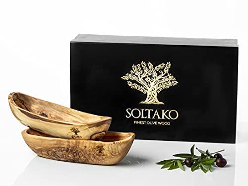 SOLTAKO Juego de 2 cuencos de madera de olivo para pan y aperitivos, alargados, de madera rústica, frutero, para joyas, longitud: 30-34 cm, ancho: 7,5-10 cm, altura: 6-7,5 cm