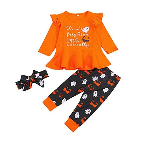 3 piezas recién nacido bebé niña Halloween traje de manga larga carta volante superior fantasma impresión pantalones+diadema bebé niña ropa, naranja, 6-12 Meses