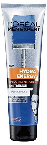 L' Oréal Men Expert Gel da Barba barba di 3giorni Hydra Energy/Ultra Trasparente Gel da Barba per den dreitage Bart/praeziser Bart Style possibile, per normale e pelli sensibili, 1X 150ML