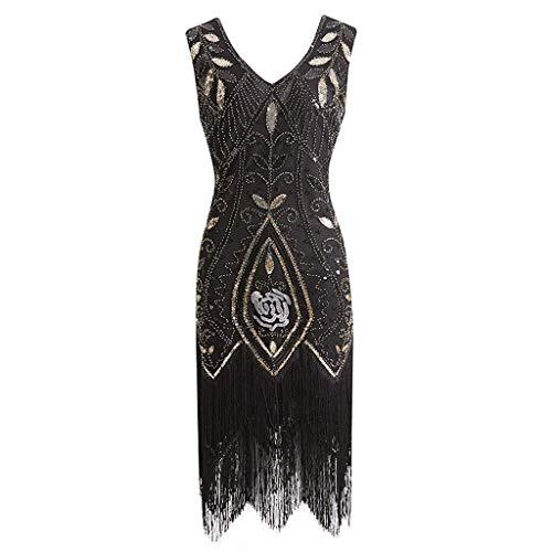 Bobopai Anglewolf Women''s 1920s V Neck Beaded Fringed Gatsby Theme Flapper Dress for Prom (Black-02)
