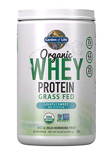 Garden of Life Certified Organic Grass Fed Whey Protein Powder - Lightly Sweet, 12 servings - Stevia-Free, 21g Protein Plus Probiotics, Non-Gmo, Gluten Free, RBST & Rbgh Free, Humane Certified