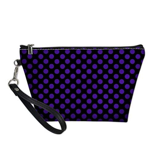 Necessaire feminina bonita de bolinhas para viagem kit de cosméticos para maquiagem, Black Violet Polka Dot