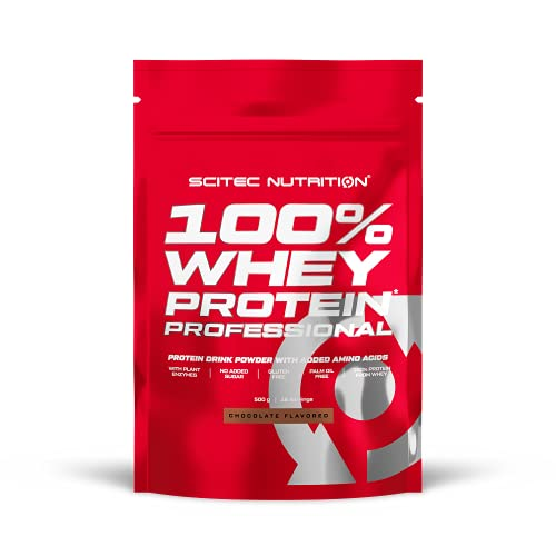 Scitec Nutrition 100% Whey Protein Professional con aminoacidi chiave extra e enzimi digestivi, senza glutine, 500 g, Cioccolato