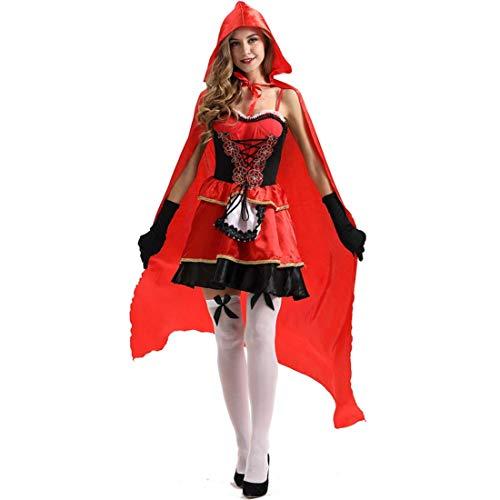 SPFTOY Halloween Rotkäppchen Märchenschloss Kleid Vampir Hexe Kostüm Sexy Erwachsener Vintage Kleid Cape Mantel Königin Punk Gothic Mittelalter Party Karneval Cosplay Karneval Bühne Tarnung-XXL