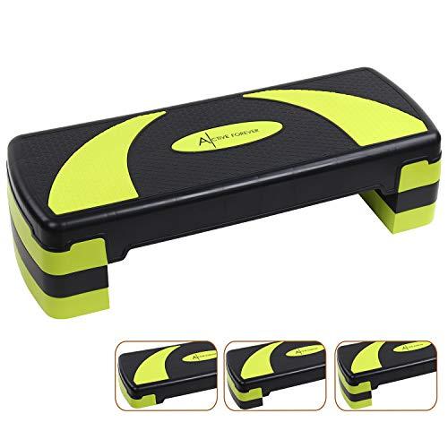 Active Forever Aerobic Stepper, Stepper Cardio, Stepbench, Aerobic Steppbrett, 3 einstellbare Höhen(10cm/15cm/20cm) (Schwarz Grün)