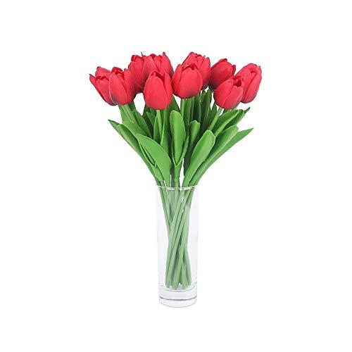 Wuke tree 12 Stück PU künstliche Tulpen Blumen, Mini Tulpen Hochzeitsblume Simulation Latex Tulpe Blume für Vorschlag Party Home Hotel Event Dekoration, bestes Muttertagsgeschenk (weinrote)
