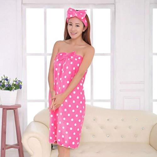 Gbcyp Vrouwen Zacht Absorberende Badjas Handdoeken Badjas Body Spa Bad Strik Wrap Handdoek Douchekop + Badhanddoek Douche, M, L