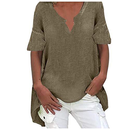 Yowablo Bluse Damen Lose Bluse Hemd Shirt Oversize Oberteil Tops Hemd Bluse Frauen Plus Size Casual Langarm Solid Loose V-Ausschnitt Top ( XXL,1khaki )