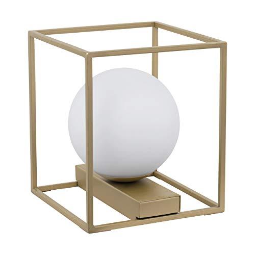 EGLO Tischlampe Vallaspra, 1 flammige Tischleuchte, Nachttischlampe aus Stahl, Farbe: Champagner, Glas: weiß, opal-matt, Fassung: E14