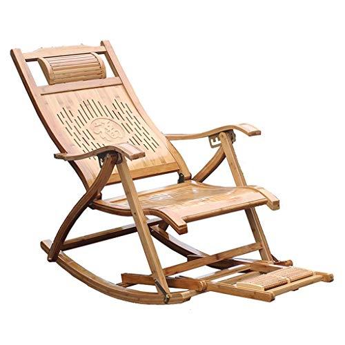 SGSG Mecedora de bambú, sillón reclinable Plegable de jardín, con Masaje de pies, sillón para Ancianos, Tumbona de terraza Exterior Ajustable