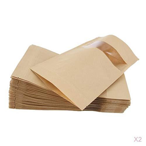 joyMerit 100 Stücke Kraftpapier Tasche Standbodenbeutel Lebensmittel