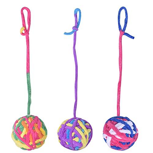 smatime 3 Stück Katzenspielzeug Wollball Lustige Katzenglocke Ball Bunte Wollgarnbälle mit Seil Haustier Katze Kaukugel Kratzspielzeug für Katzen Kätzchen Haustier Interaktives Spielspielzeug