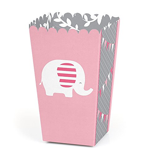 Pink Elephant - Girl Baby Shower or Birthday Party Favor Popcorn Treat Boxes - Set of 12