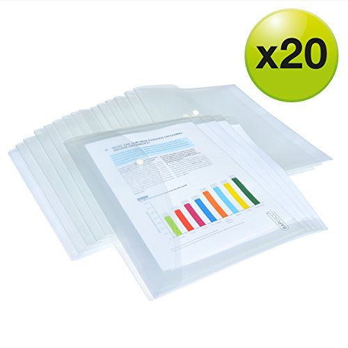 Rapesco 1496 Dokumentenmappe mit Druckknopf A4 (Transparent) Dokumententasche 20 Stück
