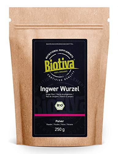 Zenzero in polvere Bio - 250g - radice di zenzero macinata - p.es. per tè allo zenzero o acqua allo zenzero - confezionato e imbottigliato in Germania