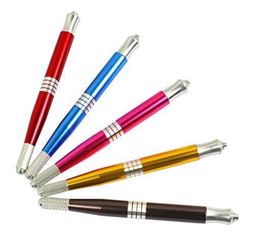 Xiaoyu professionnel de tatouage manuel professionnel de maquillage permanent crayon à sourcils stylo microbladeur, double tête, paquet de 5