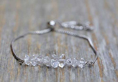 Herkimer Diamond Gemstone Bolo Bracelet- Adjustable- Bright Silver- Birthstone- Women's Jewelry- Mother's Day Gift Idea