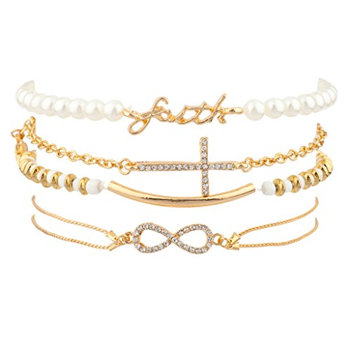 Lux Accessories Faith Pave Cross Bar Infinity Arm Candy Faux Pearl Bracelet Set