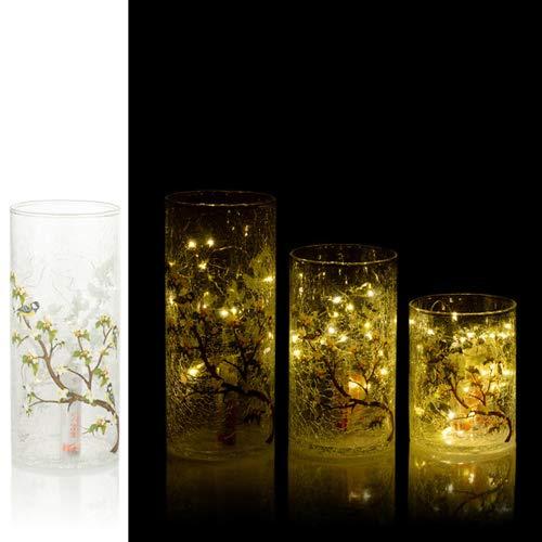 3er Set Windlichter aus Glas mit loser LED Lichterkette inkl. Timerfunktion - Deko Frühling mit Blumen und Zweige