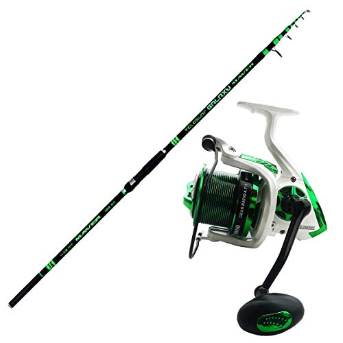 Maver Kit Pesca SURFCASTING Composto da Canna Galaxy Surf 4.20 m 160 g + Mulinello Globe Fishing Giant 8000 8+1 BB