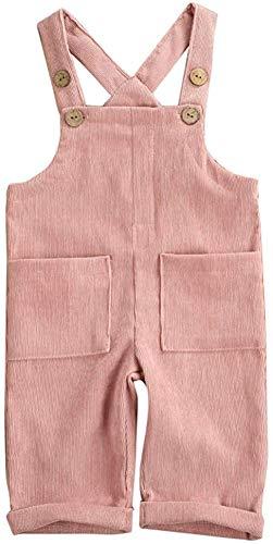 Kids Baby Girl Boy Latzhose Overalls Ärmellose verstellbare einfarbige Jumpsuit-Hose Winterhose Kleidung (Pink,6-12 Monate)
