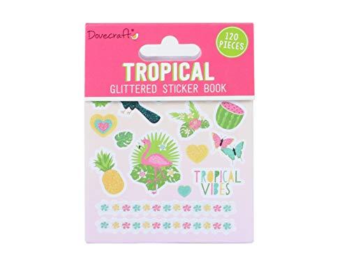 Dovecraft Book-Tropical-108 - Adesivi glitterati per artigianato, cancelleria, diario, carta, multicolore, taglia unica