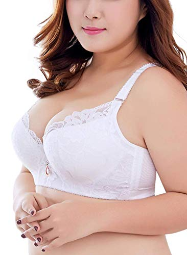ESETAY Plus Size Push Up Bra Women's All Around Embroidered Underwire Bra Padded Molded Minimizers Bra 36C White