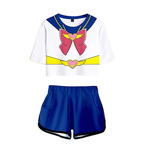 Traje de Disfraz de Sailor Moon, Camiseta de Sailor Moon, Trajes de Ombligo, Conjuntos de 2 Piezas, Disfraz de Cosplay de Sailor Moon para niñas, niños, Adultos, Verano
