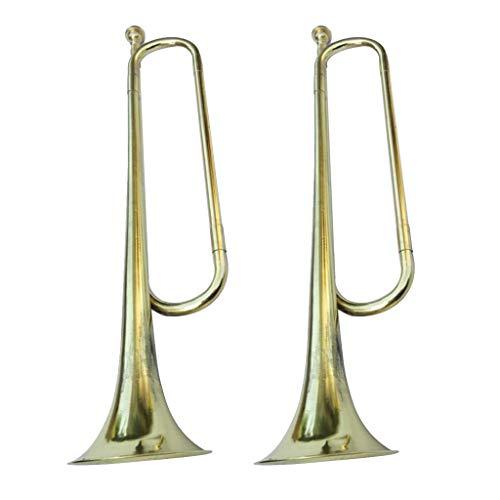 perfeclan 2 Stück Messing Metall Signalhorn Trompete, Kavallerie Trompete für Blechbläser Instrumentenliebhaber